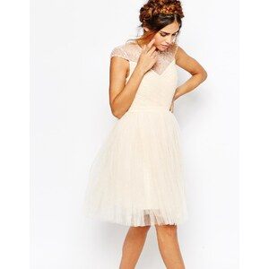 Little Mistress - Robe patineuse à corsage froncé et jupe plissée en tulle - Crème