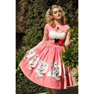 Pinup Couture 50s Evelyn Dress in Bright Pink with Umbrella Print