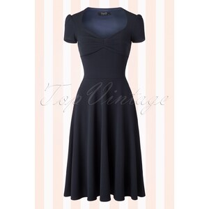 Vintage Chic 50s Lucinda Swing Dress in Navy