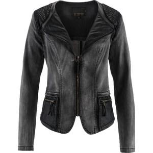 bpc selection premium Premium Jeansjacke mit Lederimitat-Besatz in grau für Damen von bonprix