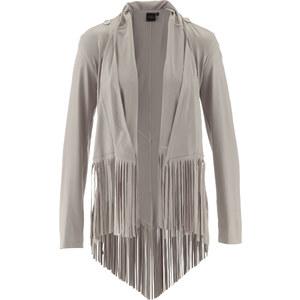 bpc selection premium Premium Lederimitat-Jacke mit Fransen langarm in grau für Damen von bonprix