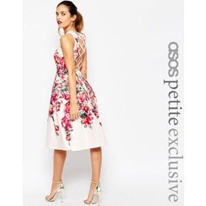 ASOS PETITE - Vintage-Ballkleid mit Blumen und Spitze hinten - Mehrfarbig