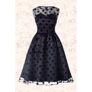 Lindy Bop 50s Eve Polka Dot Prom Dress in Midnight Blue