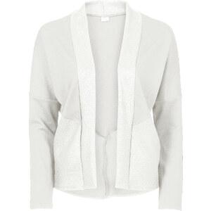 BODYFLIRT Shirtjacke in Reptiloptik langarm in weiß für Damen von bonprix