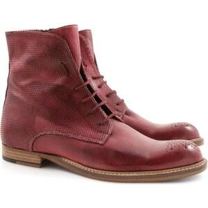 Leonardo Shoes Bottes plate en cuir rouge artisanales pour femme