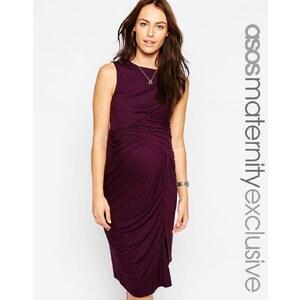 ASOS Maternity - Asymmetrisches, enges Kleid mit geraffter Partie - Violett