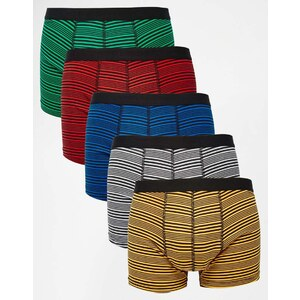 ASOS - 5er Pack buntgestreifte Unterhosen, SIE SPAREN 28%