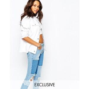 Liquor & Poker - Jeans-Truckerjacke mit ungesäumten Abschlüssen und Abnutzungserscheinungen - Weiß