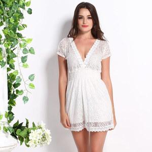 Lesara Kleid aus Spitze - Weiß - XL
