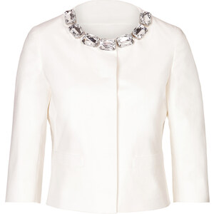 Moschino Cheap and Chic Cotton Jacket with Jeweled Collar