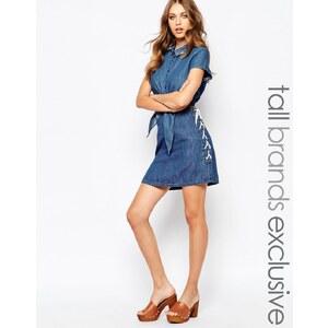 Noisy May Tall - Jeansrock mit seitlicher Schnürung - Blau