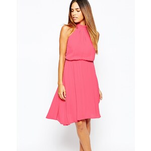 Warehouse - Neckholder-Kleid mit Rückenträgern - Rosa
