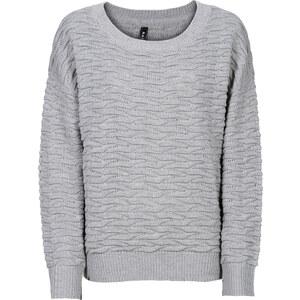 RAINBOW Struktur-Pullover langarm in grau für Damen von bonprix