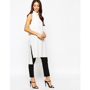 Never Fully Dressed - Hochgeschlossene Tunika mit Seitenschlitzen - Weiß
