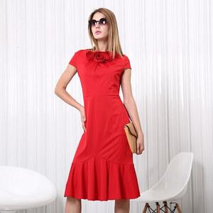 Lesara Midi-Kleid mit Rosenbordüre - Rot - S