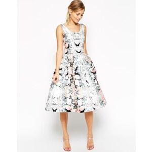 ASOS SALON - Ausgestelltes Partykleid mit Blumenmuster und Gürtel - Mehrfarbig