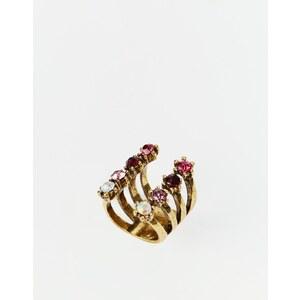 Little Mistress - Offener Ring mit farbigen Schmucksteinen - Gold