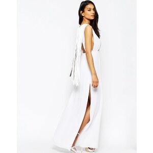 ASOS - Einfarbiges T-Shirt-Maxikleid mit Fransen hinten - Weiß 27,99 €