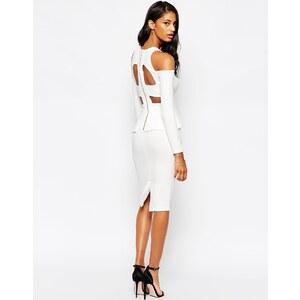 ASOS - Schulterfreies, figurbetontes Kleid aus Krepp mit Riemendesign hinten - Weiß