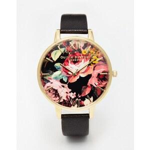 Olivia Burton - Uhr mit großem Zifferblatt mit Print - Schwarz und Gold