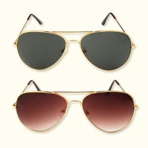 Lesara Goldfarbene Piloten-Sonnenbrille im klassischen Stil - Braun