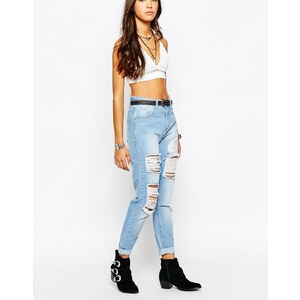 Liquor & Poker - Mom-Jeans mit hohem Bund und Abnutzungen - Hellblau