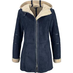 John Baner JEANSWEAR Long-Jacke aus Velourslederimitat langarm in blau für Damen von bonprix