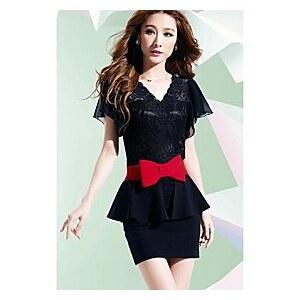 LightInTheBox Women Summer Peplum Career V-neck OL Dress Black White Red Black One-piece Dress