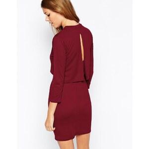 Daisy Street - Gestuftes Kleid mit Rückenausschnitt - Burgunderrot