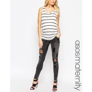 ASOS Maternity - Ridley - Enge Jeans mit großen Rissen in Anthrazit-Waschung - Grau