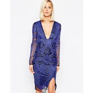 Lavish Alice - Besticktes Wickelkleid in Midilänge mit tiefem Ausschnitt - Blau