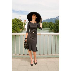 Vintage Chic 50s Charlotte Pencil Dress in Black