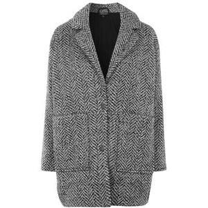Topshop Eggshape-Jacke aus strukturierter Wolle - Schwarz-Weiß