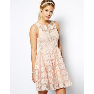 ASOS Premium Floral Skater Dress In Texture With Bow Back