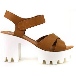 Sandale à Talon Caramel MANOAH - Cendriyon