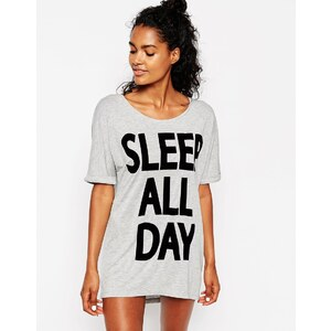 ASOS - Dance All Night Sleep All Day - Übergroß geschnittenes Schlaf-T-Shirt - Mehrfarbig