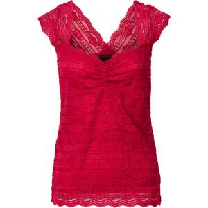 RAINBOW Top en dentelle rouge manches courtes femme - bonprix