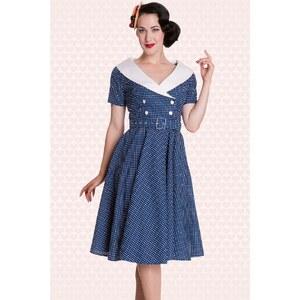 Bunny 50s Retro Claudia Swing dress in Polka blue white