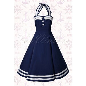 Collectif Clothing 50s Sindy Doll Sailor navy swing dress