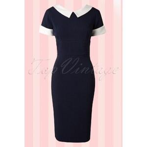 The Pretty Dress Company 50s Bella Pencil Dress in Navy