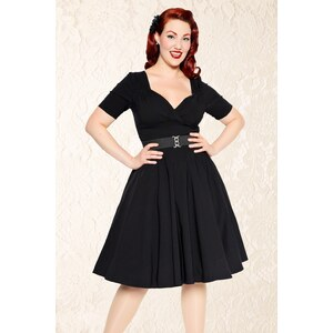 Collectif Clothing 50s Trixie Doll Swing Dress in Black
