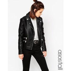 ASOS TALL - Texturierte Biker-Jacke mit Reißverschluss - Schwarz