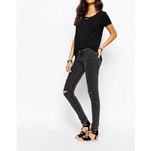Hollister - Superskinny Jeans mit niedrigem Bund und Rissen am Knie