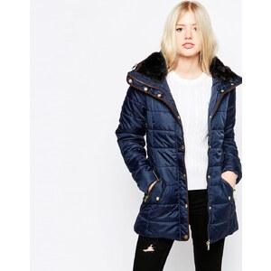 Only - Gepolsterter Mantel mit Kontrastrand - Blau