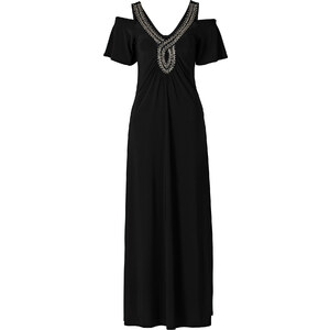 Robe longue avec perles noir femme - bonprix