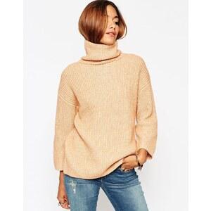 ASOS - Pullover mit Stehkragen und weiten Ärmeln - Camel Twist