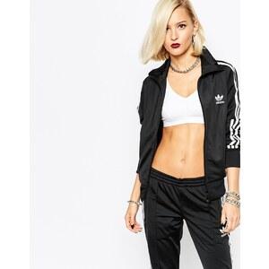 adidas Originals - Trainingsjacke mit 3 Streifen und Reißverschluss vorne - Schwarz