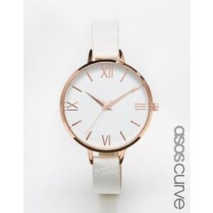ASOS CURVE - Texturierte Uhr mit großem Zifferblatt - Weiß