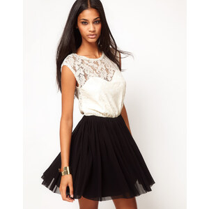 ASOS Contrast Skater Dress in Lace and Mesh