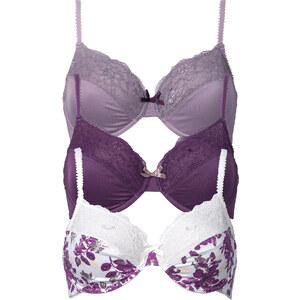 BODYFLIRT Lot de 3 soutiens-gorge, Bon. F violet lingerie - bonprix